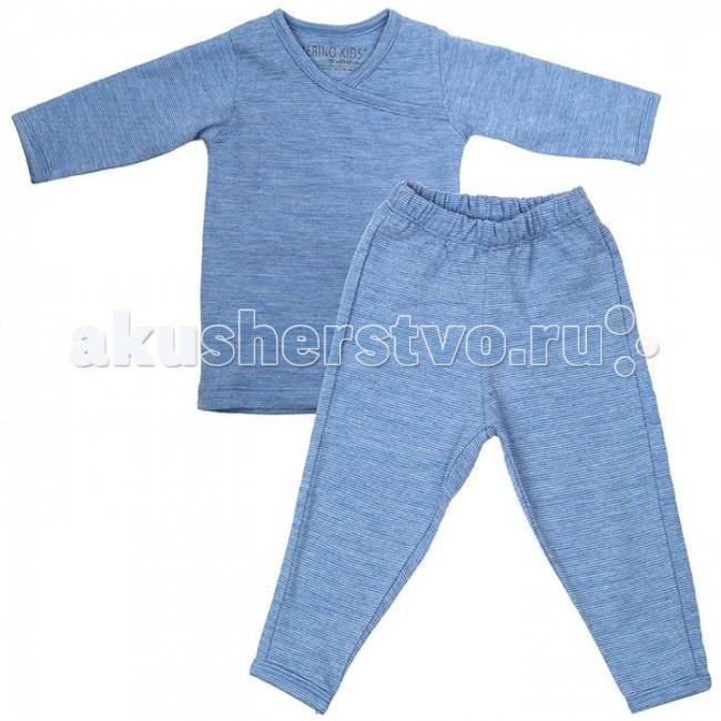 Merino Kids Пижама из шерсти мериноса 6-12 мес.Пижама из шерсти мериноса 6-12 мес.Пижама Merino Kids, выполненная из 100% тонкого мериносового волокна, подходит для сна ребёнка в любое время года.   Состоит из кофточки с длинным рукавом и штанишек с мягкой резинкой. Для удобства надевания кофточка имеет широкий ворот с запахом. Мягкое и эластичное мериносовое волокно не стесняет движений ребёнка во сне.  Воздушная прослойка, образуемая между слоями мериносового полотна, обеспечивает регулирование температуры и вся влага, создаваемая телом ребёнка, проходит через слои наружу. Это позволяет ребёнку оставаться в тепле, когда холодно, и в прохладе, когда жарко. Такие условия являются идеальными для сна малыша.  Материал: 100% шерсть мериноса Размер: 6-12 месяцев Уход: деликатная машинная стирка и сушка<br>