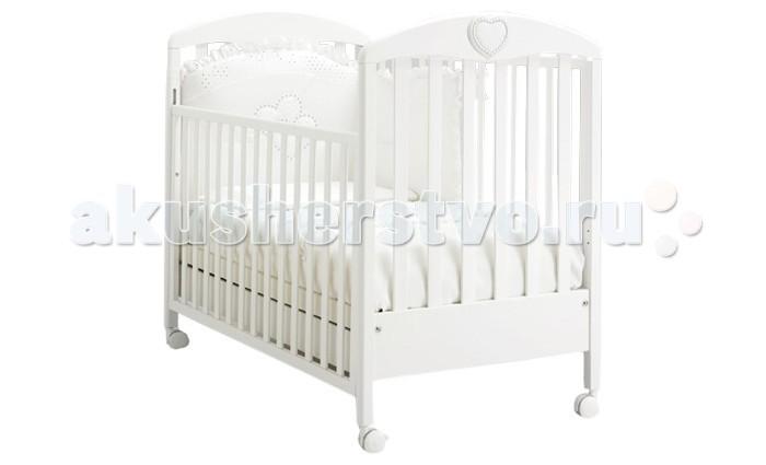 Детская кроватка MIBB CuoreCuoreДетская кроватка MIBB Cuore   Детская мебель известной итальянской компании Mibb покорит Вас своим изящным внешним видом и высоким качеством сборки. Детская кроватка Mibb Cuore выполнена из массива бука.  Благодаря применению этого экологически чистого и прочного материала изделие сохранит первозданный вид и прослужит не одно десятилетие. Все детали кроватки имеют идеально отполированные поверхности.  Они обработаны нетоксичными лаками и красками. Высококачественное покрытие, которое обладает защитными и декоративными свойствами, устойчиво к внешним воздействиям.  Лакокрасочные материалы, не вызывающие аллергические реакции, безопасны для здоровья вашего ребенка. Глянцевое покрытие защитит нежную кожу малыша от заноз.  Mibb Cuore не имеет острых углов, что значительно повышает безопасность эксплуатации кровати. Ваш кроха не получит ни ушибов, ни ссадин. Детская кроватка Mibb Cuore оборудована четырьмя колесами, два из которых оснащены фиксаторами.  Колеса помогают перемещать кроватку по комнате, а фиксирующий механизм делает Mibb Cuore неподвижной. Ложе кровати из буковых ламелей можно отрегулировать в двух положениях по высоте.  Mibb Cuore спроектирована таким образом, что переднюю стенку можно опустить. Фасады кроватки сделаны из ламинированного МДФ.  В Mibb Cuore есть вместительный ящик для хранения белья и предметов, необходимых в процессе ухода за малышом. Детская кроватка на колесах декорирована нежной резной аппликацией в форме сердечка.  Гармоничность и плавность линий кроватки Mibb Cuore придают ей особый шарм.<br>