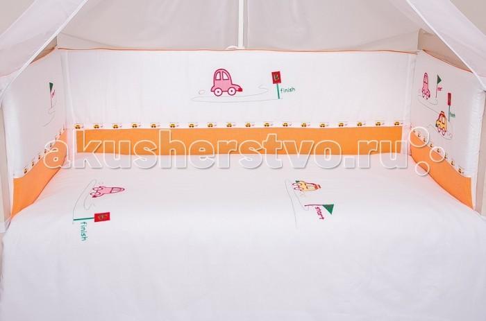 Бампер для кроватки Мой Ангелочек Весёлый старт с вышивкой