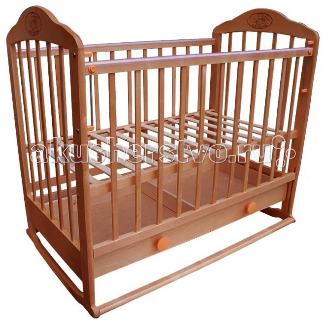 Детская кроватка Ивашка Мой малыш 7 (колесо-качалка)Мой малыш 7 (колесо-качалка)Кроватка детская Ивашка Мой малыш 7 выполнена из экологичных, гипоаллергенных материалов. Кроватка обладает высоким качеством и комфортом, как для ребенка, так и для родителей. Благодаря современному дизайну и спокойной, мягкой расцветке она впишется в интерьер любой спальни или детской комнаты.  Кровать изготовлена из массива березы Имеются полозья для качания, также можно установить колесики для удобства перемещения кровати по квартире Положение боковой планки регулируется опускающимся устройством Боковая стенка съемная Специальная защитная накладка на бортиках Двойной уровень поддона Днище - реечное Ящик на роликовых направляющих с системой блокировки от выпадения   Внутренний размер 120х60 см Размеры (ШxДxВ) 70x125x109 см<br>