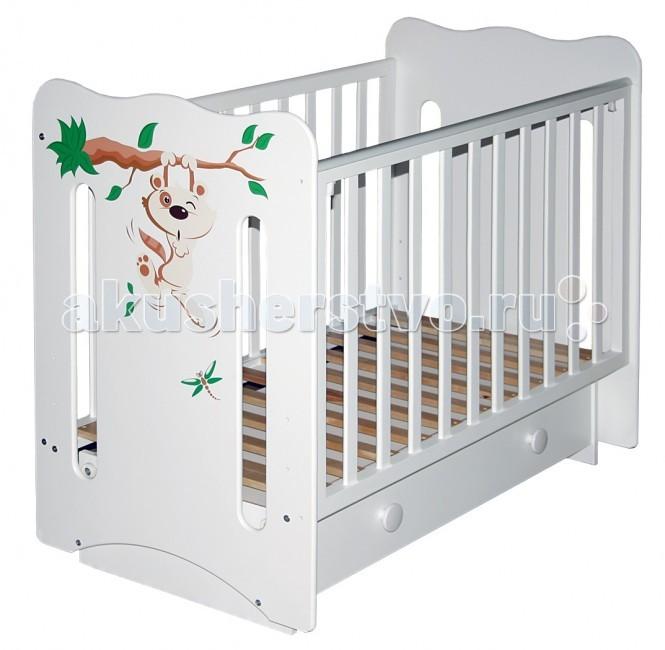Детская кроватка Можгинский лесокомбинат Laluca Руслана Кроха енот (поперечный маятник)