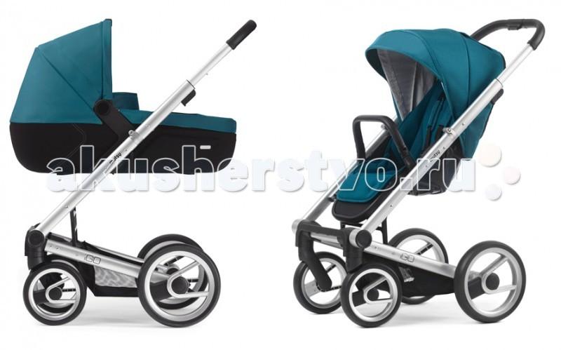 Коляска Mutsy Igo Lite 2 в 1Igo Lite 2 в 1Коляска Mutsy Igo: это уникальная новинка от известного производителя детских колясок. Данная модель отличается современным дизайном и качеством исполнения. Поставляется как с резиновыми, так и с пластиковыми колесами.  Люлька:  предназначена для детей от рождения до 6 месяцев;  современная облегчённая люлька.   Прогулочный блок: для детей от 6 месяцев;  можно установить лицом к маме или лицом по направлению движения;  наклон спинки сидения регулируется в 4 положениях;  компактное складывание вместе с сидением;  регулируемая подножка.   Колёса:  4 пластиковых колеса;  передние колёса поворотные с фиксацией.   Шасси:  складывается «книжкой»;  алюминиевая рама;  удобный ножной тормоз;  телескопическая ручка;  Aqua на черной раме  Grey на черной раме  Silver на серебристой раме  Технические характеристики: максимально допустимый вес: 15 кг;  размер (ДхШхВ): 80х58х110 см;  размер в сложенном виде (ДхШхВ): 70х58х39 см;  вес: 12,7 кг   В комплекте:  люлька (капюшон, накидка, матрасик)  прогулочный блок (капюшон, накидка на ножки, бампер)  шасси с колесами  сумка для мамы  дождевик  москитная сетка в люльку  инструкция<br>