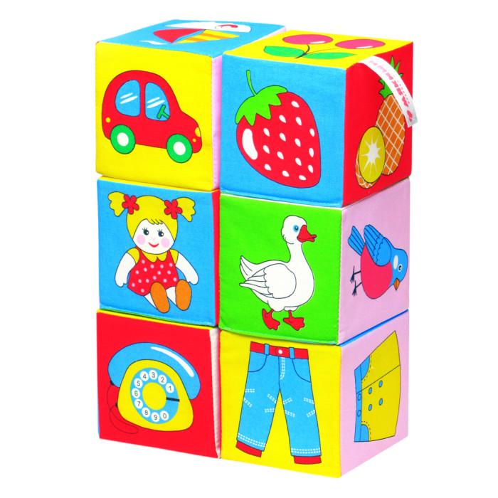 Развивающая игрушка Мякиши Кубики Предметы 6 шт.Кубики Предметы 6 шт.Развивающий игрушка Мякиши Кубики Предметы помогут вашему малышу в развитии сенсорных способностей (восприятия цвета и формы предметов), а также подвижности пальцев (мелкой моторики) и координации обеих рук; в расширение словарного запаса и совершенствование грамматического строя речи.   Изготовлено из гипоаллергенных материалов.  Размер кубика: 10 х 10 см<br>
