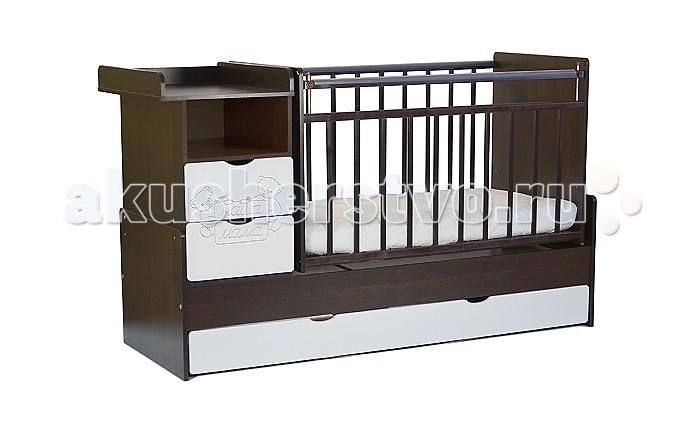 Кроватка-трансформер Наша Мама Джулия (маятник поперечный)Джулия (маятник поперечный)Детская кроватка-трансформер Джулия с встроенным комодом - очень удобное изобретение, поскольку сочетают в себе все самое необходимое: кроватка для новорожденного диванчик кровать подростковая и ко всему этому комод  и вместительный напольный ящик на колесиках  Кровать с поперечным маятниковым механизмом и 2-мя вместительными ящиками для хранения. Комод можно установить как с правой, так и с левой стороны. Два нижних выдвижных ящика на направляющих, такая конструкция удобна тем, что не взаимодействует с покрытием пола, а перегородка между ящиками придает кроватке дополнительную жёсткость. Имеется защитная накладка из ПВХ. Модель с поперечным маятниковым механизмом поможет укачать малыша, а если такой необходимости нет, то маятник можно зафиксировать стопором.   Размер 174&#215;68&#215;108 см.  Все кроватки «Наша мама»  изготавливаются из натуральной березы. Эта порода идеально подходит для детской мебели. Благодаря гибкости и твердости, изделия из березы не подвержены изломам, вмятинам, что исключает травмирования ребенка и гарантирует достойный внешний вид кроватки в течение длительного времени.<br>