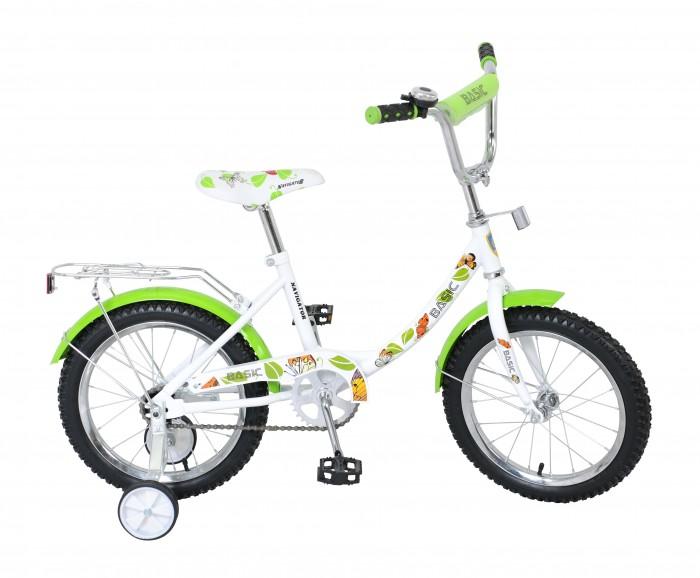 Велосипед двухколесный Navigator Basic 16 12BBasic 16 12BВелосипед Navigator Basic 16 12B - это хорошо собранный и надёжный велосипед для ребёнка.   Велосипед оснащен звонком и багажником. Модель подойдет для ребенка возрастом от 4 до 7 лет и ростом 105-125 см. Катание на велосипеде благоприятно влияет на здоровье, укрепляет мышцы, развивает зрение, учит ориентироваться в пространстве и принимать решения.   Особенности: Тип: детский Материал рамы: сталь Амортизация: отсутствует Конструкция вилки: жесткая Конструкция рулевой колонки: неинтегрированная, резьбовая Диаметр колес: 16 дюймов Материал обода: алюминиевый сплав Двойной обод: нет Шатун: односоставной Возможность крепления боковых колес: есть Боковые колеса в комплекте: есть Тип переднего тормоза: отсутствует Тип заднего тормоза: ножной Уровень заднего тормоза: начальный Количество скоростей: 1 Уровень каретки: начальный Конструкция каретки: неинтегрированная Тип посадочной части вала каретки: квадрат Количество звезд в кассете: 1 Количество звезд системы: 1 Конструкция педалей: платформы Конструкция руля: изогнутый Настройка положения руля: регулируемый подъем Материал рамки седла: сталь Комфорт: защита цепи, мягкая накладка на руле<br>