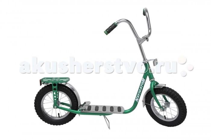 Самокат Navigator с надувными колесамис надувными колесамиЯркий и легкий самокат Navigator выполнен из нержавеющей стали. Самокат с пневматическими (надувными) колесами обеспечивает комфортное передвижение по любой поверхности. У самоката большой велосипедный руль, багажник, задний ножной тормоз.  Особенности: Колёса: 12 х 2.40 дюймов Максимальная нагрузка: 40 кг Вес самоката: 6.2 кг Материал: сталь Камеры из натуральной резины Стальные обода Задний ножной тормоз наступающий (step-on brake) Подножка Багажник  Длина платформы для ноги - 35 см Длина самоката - 107 см Регулируемая высота руля от 86 до 91 см<br>