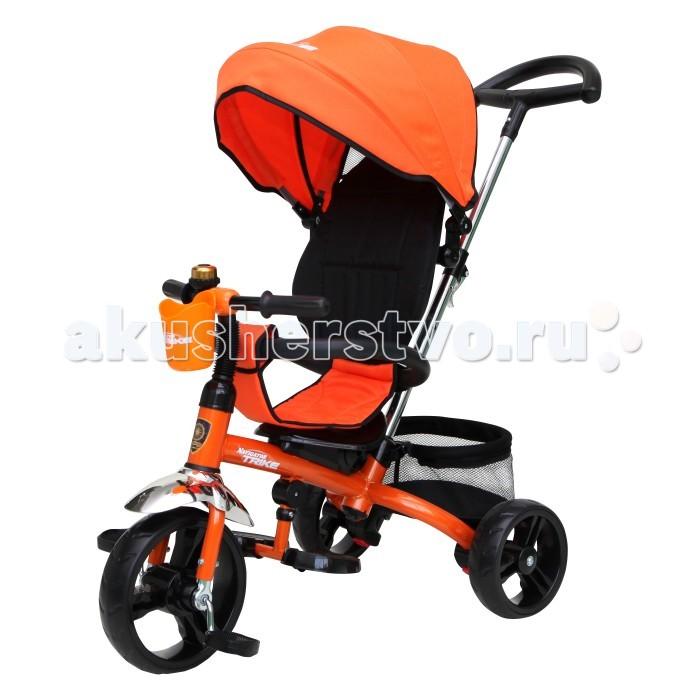 Велосипед трехколесный Navigator Т58450/Т58451Т58450/Т58451Велосипед трехколесный Navigator Lexus предназначен для того, чтобы ребенок увидел мир с другого ракурса и постепенно переходил с коляски на собственный транспорт. Популярная модель детского трехколесного велосипеда с ярким дизайном. Велосипед снабжен ручкой управления для родителей.  Особенности: Диаметр переднего/заднего колеса: 10/8 Широкие пластиковые колеса с пластиковыми дисками  Сиденье с регулируемой спинкой  Конструкция руля прямой Тяга Свободный ход Безопасность и комфорт Ручка для родителей регулируется по высоте  Управление рулем Подставки для ног  Переднее крыло  Страховочный разъемный обод  Колясочный козырек от дождя Тканевая вставка на сиденье  Задняя корзина (фиксированная) Клаксон Подстаканник  Вес: 8.8 кг<br>