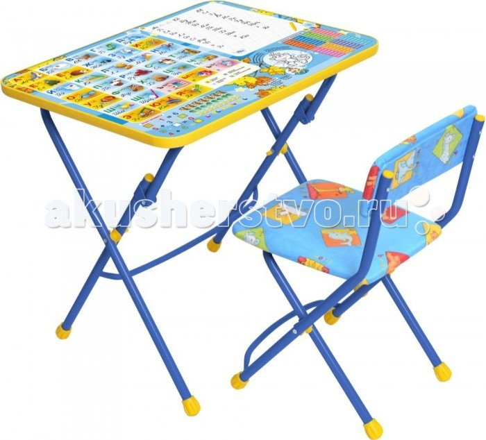 Ника Набор мебели (стол-парта+пластиковый стул)Набор мебели (стол-парта+пластиковый стул)Набор детской мебели Ника предназначен для детей возраста от 3 до 7 лет. Это безопасная, удобная мебель, которая компактно складывается и экономит пространство Вашей квартиры. Углы стола и стула мягко закруглены, основу мебели составляет металлический каркас, а форма и габариты соответствуют росту и весу ребенка.   С набором детской мебели Ника Ваш ребенок будет с удовольствием получать новые знания, тренировать полученные навыки и развивать свои творческие способности! Главное в обучении ребенка – это правильный подход в форме игры, поэтому каждый стол – тематический.  В набор входят: стол-парта 58х60х45 см пластиковый стул высота до сиденья 35 см, высота со спинкой 62 см, размер сиденья 29х26 см<br>