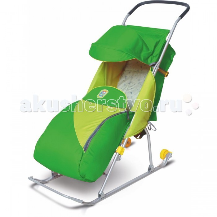 Санки-коляска Ника Тимка 2 КомфортТимка 2 КомфортСанки-коляска Тимка 2 Комфорт предназначены для перевозки детей в положении сидя.  Чехол выполнен из влагонепроницаемого износоустойчивого полиэстера.  Прочный и легкий металлический каркас, легко складывается.  Широкие полозья обеспечивают легкое скольжение по снегу.  Характеристики: плоские полозья 30 мм трехточечный ремень безопасности складной козырек  плавная регулировка спинки 2 положения чехол для ног светоотражающий кант колесо для удобной транспортировки<br>