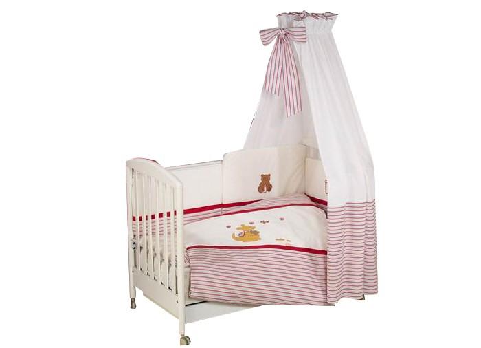 Комплект для кроватки Nino Canguro (6B предметов)Canguro (6B предметов)Особенности Nino Canguru: детское постельное белье было разработано специально для того, чтобы обеспечить новорожденному спокойный сон, так необходимый для правильного развития. Особое внимание посвящено качеству и мягкости хлопчатобумажной ткани. Она характеризуется практичностью в использовании, а также простотой стирки и глаженья благодаря применению совершенной системы Easy Wash, обеспечивающей сохранение первоначальной формы борта.  Материал: 100% хлопок, наполнение - полиэстер  В комплекте 6 предметов:   пододеяльник (135 х 100)  наволочка (60 х 40)  одеяло (135 х 100)  подушка (60 х 40)  борт: 195 см (на половину кроватки)   простыня с резинкой<br>