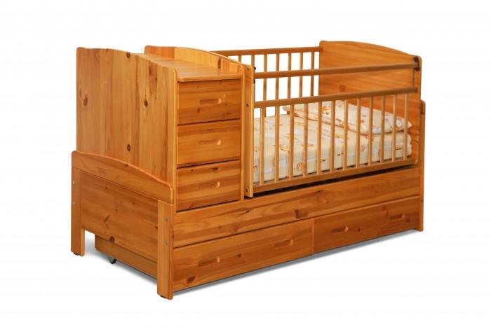 Кроватка-трансформер Noony Wood Chalet (поперечный маятник)Wood Chalet (поперечный маятник)Noony Wood Chalet с маятником – это самая безопасная кровать-трансформер, выполненная из цельного дерева и покрытая нетоксичными лаками.    Она включает кроватку для новорожденного, вместительный пеленальный комод, а также колыбель поперечного качания. Комод и колыбель можно располагать c любой стороны кроватки.   Когда ребенок подрастет кроватка-трансформер легко и просто трансформируется в просторную подростковую кровать, прикроватную тумбу, а также в навесные полки под детские книжки и игрушки, поэтому экологически безопасная Noony Wood Chalet прослужит Вам на протяжении 10-12 лет.  Характеристики: маятник поперечного качания защита опускания передней стенки 2 уровня основания опускающаяся боковина механизм опускания комод с 3 ящиками выдвижные ящики в нижней части кровати  материал: 100% натуральное дерево (береза и сосна)  Вес: 61 кг. Габариты кроватки: 173х67х98 см. Размеры пеленального столика: 36х66 см. Кроватка для новорожденного (спальное место): 120х60 см. Подростковая кровать: 170х60 см.<br>
