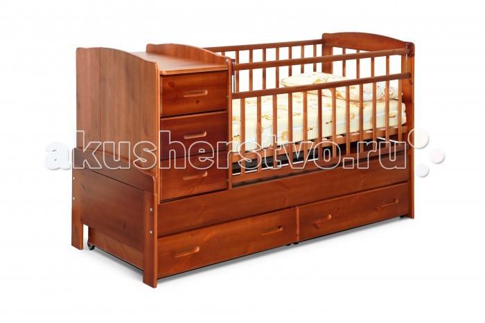 Кроватка-трансформер Noony Wood ChaletWood ChaletКроватка-трансформер Noony Wood Chalet – это самая безопасная кровать-трансформер, выполненная из цельного дерева и покрытая нетоксичными лаками.   Она включает кроватку для новорожденного и вместительный пеленальный комод. Комод можно располагать c любой стороны кроватки.   Когда ребенок подрастет кроватка-трансформер легко и просто трансформируется в просторную подростковую кровать, прикроватную тумбу, а также в навесные полки под детские книжки и игрушки, поэтому экологически безопасная Noony Wood Chalet прослужит Вам на протяжении 10-12 лет.  Характеристики: защита опускания передней стенки 2 уровня основания опускающаяся боковина механизм опускания комод с 3 ящиками выдвижные ящики в нижней части кровати  материал: 100% натуральное дерево (береза и сосна) Размеры пеленального столика: 36х66 см.<br>