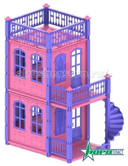 Нордпласт Кукольный домик Замок Принцессы 2 этажаКукольный домик Замок Принцессы 2 этажаДомик Замок Принцессы для куклы 591  Замок принцессы - это очень красивый игрушечный домик для кукол, который собирается как конструктор. У домика для кукол глубокая проработка деталей каждого из элементов игрушки.  На самом верху есть открытая терраса, там можно поставить столик со стульчиками или диванчик для куклы. На первом и втором этажах находятся две одинаковые комнаты, в которых много окон, на некоторых из них есть ставни. Между этажами есть лестница.  Основные характеристики:  Качество пластмассы отличное, расцветка домика веселая, яркая  Не выцветает и не деформируется на солнце  Прост в сборке и удобен в использовании  2 этажа   Размер: 73х38х84 см.<br>