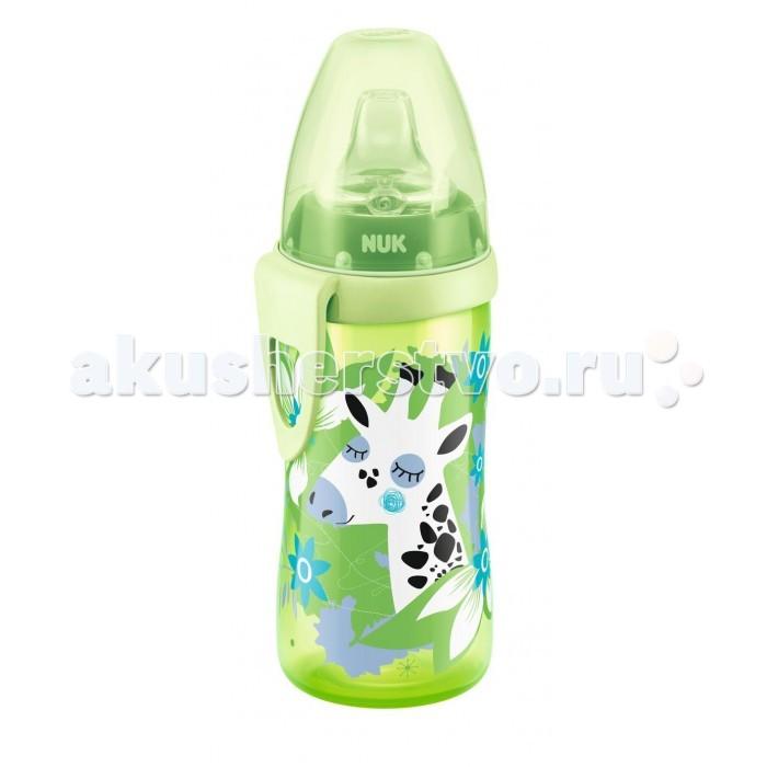 Поильник Nuk для активных детей Active Cup с 12 мес. 300 млдля активных детей Active Cup с 12 мес. 300 млБутылочка-поильник Nuk предназначена для приучения детей старше 1 года к самостоятельному питью. Изготовленная из первоклассного полипропилена без добавления бисфенола-А, она полностью безвредна и безопасна для малыша. Антиколиковая система уменьшает попадание воздуха в желудок, что снижает риск появления колик.   Удобная форма бутылочки прекрасно подходит для крохотной детской ладошки. Для крепления к коляске, сумке или поясу имеется боковая клипса. Изделие оснащено защитой от проливания: колпачок и надежная силиконовая насадка не подтекают. Бутылочка-поильник Nuk легко разбирается и моется и идеально подойдет для прогулок или поездок.  Особенности: Антиколиковая система Nuk Anti-Colic Air System. Прочная и безопасная силиконовая насадка для питья. Удобная клипса для крепления к коляске. Гигиенический колпачок. Не содержит бисфенол-А. Изделие совместимо со всем аксессуарами для бутылочек серии Nuk First Choice. Возраст: с 1 года. Материал: полипропилен, силикон. Объем поильника: 300 мл.<br>