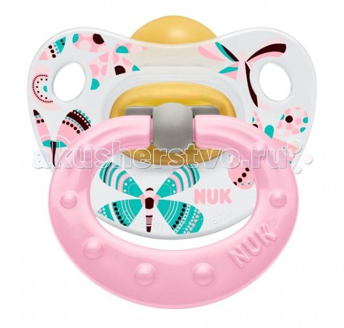 Пустышка Nuk ортодонтическая из латекса Classic Happy Kids, с колечком, размер 2 (6-18 мес.)