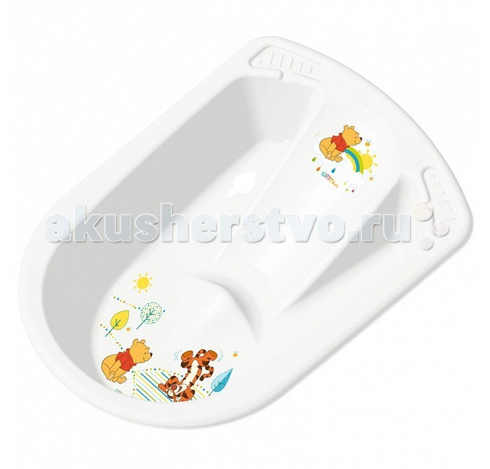 OKT ванночка Disney Винни Пух анатомическаяванночка Disney Винни Пух анатомическаяВанна OKT Disney Винни Пух - предназначена для купания детей от 0 месяцев и старше. Яркая, красивая анатомическая ванна непременно привлечет к себе внимание, ведь на ней изображены забавные животные.  Для удобства использования предусмотрены два углубления для банных принадлежностей. Ванночка выполнена из высококачественной пластмассы, которая отличается своей прочностью и долговечностью.  Размер: 80 x 54 x 24 см Максимальный рост: 80 см<br>