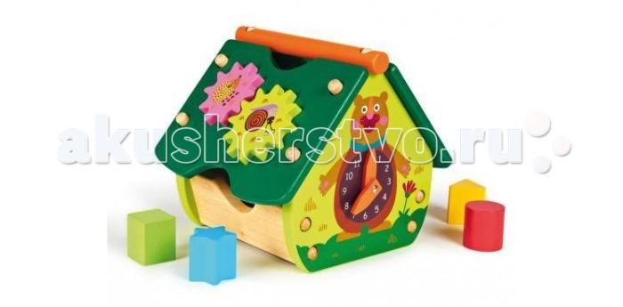 Деревянная игрушка Oops Домик-сортерДомик-сортерДомик-сортер Oops обязательно привлечет внимание Вашего ребенка своими яркими цветами и необычным дизайном.   Особенности: На крыше разноцветного домика есть отверстия различных форм, к которым необходимо подобрать соответствующую фигурку.  На другой стороне крыши шестеренки, которые можно повертеть.  Также на домике есть часы, стрелки которых можно подвигать.  Милые изображения животных на домике поднимут настроение ребенку, а запоминать формы, цвета и цифры ему будет намного легче.  Игрушка изготовлена из натурального дерева, не имеет острых углов. В процессе игры развивается крупная и мелкая моторика, цветовое восприятие, координация движений, тактильные ощущения. Ребенок познакомится с формами, цветами и цифрами.  Швейцарская компания Oops специализируется на разработке и производстве эксклюзивных игрушек и аксессуаров для детей. Яркий узнаваемый дизайн, разнообразие используемых высококачественных материалов, широкий спектр расцветок и размеров, безупречное качество изготовления — это слагаемые успеха торговой марки. Ассортимент товаров Oops включает в себя мягкие и деревянные игрушки, полезные аксессуары, текстиль и даже мебель для спальни. Каждая линия детской продукции, с момента зарождения, детально прорабатывается в строгом сотрудничестве с лучшими лабораториями мира, с целью создания товаров высочайшего качества.<br>