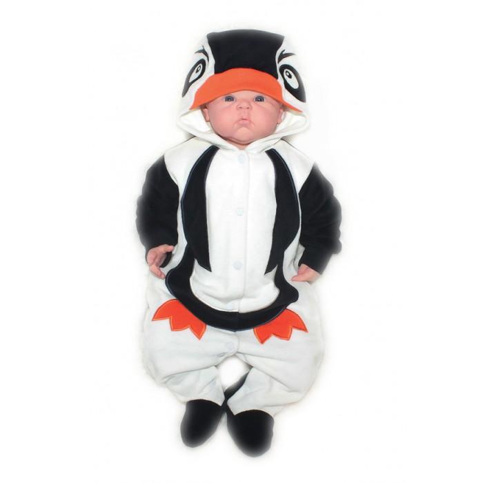 Осьминожка Комбинезон Пингвин В мире животныхКомбинезон Пингвин В мире животныхКомбинезон для новорожденных Пингвин выполнен в черно-белой цветовой гамме и имитирует внешний вид пингвинчика, который поднимет настроение не только вам, но и малышу.   Такая одежда станет отличным и просто незаменимым элементом гардероба, который подарит вашему малышу тепло и уют. Имеет удобные застежки-кнопки по всей длине, что облегчит переодевание малыша или смену подгузника.  Капюшон имеет клювик, на передней его части он украшен изображением мордочки. На самом комбинезоне, там, где будет находиться тело малыша, от шеи и до начала ножек изделие напоминает тельце пингвина. Стопы и рукава выполнены в темной расцветке.   Комбинезон для новорожденных выполнен из абсолютно качественного материала, который не вызывает аллергических реакций и раздражений на коже вашего малыша.   Верхняя часть изделия изготовлена из качественного велюра, который приятен коже, а подкладка сделана из интерлока.  Материал: высококачетсвенный велюр (состав: 80% хлопок, 20% п/э), на подкладке из интрелока (состав: 100% хлопок)  Уход: Ручная стирка при 30 гр.<br>