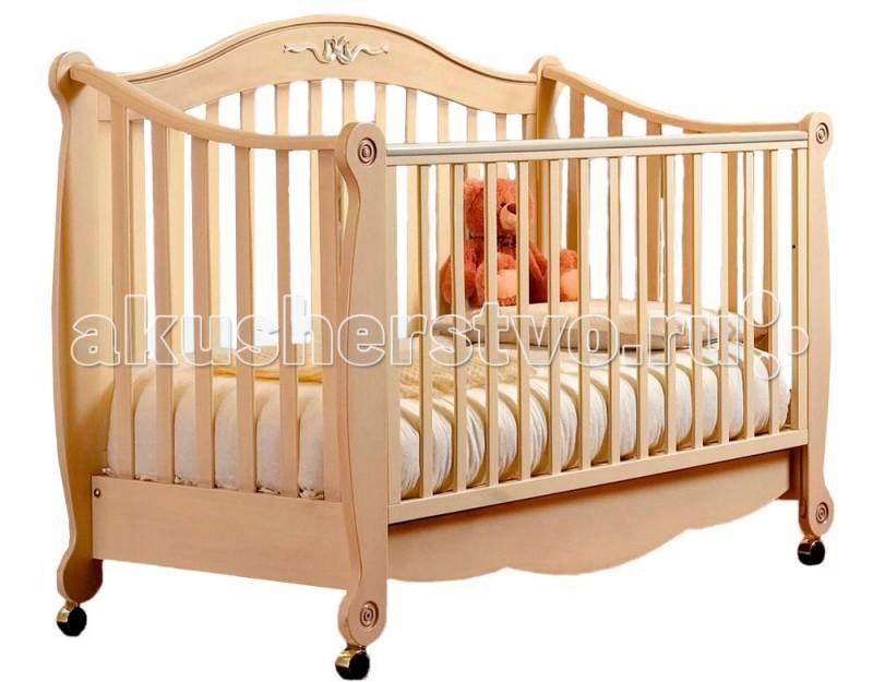 Детская кроватка Pali RigolettoRigolettoRigoletto - одна из красивейших кроваток фирмы Pali.  Сделана из выдержанного бука.  Передний бортик опускается и снимается в дальнейшем,так что кровать можно использовать как диванчик.  Кровать без качалки, на колесиках, которые также снимаются. От кроватки до диванчика ... простая игра!  Снимите регулируемый бортик  Отвинтите 4 втулки, расположенные на ножках  Установите 4 пластмассовых вкладыша  Разложите комплект подушек!<br>