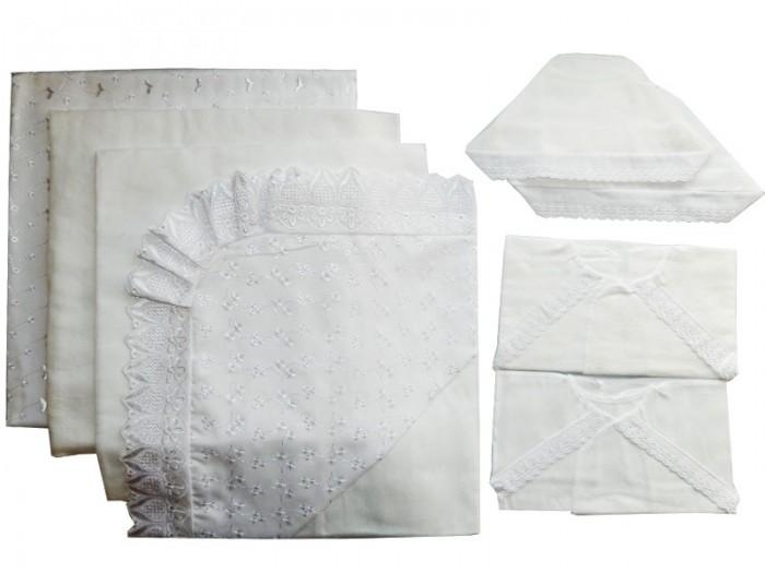 Комплект на выписку Папитто кружевной (8 предметов)кружевной (8 предметов)Комплект на выписку изготовлен из качественных, натуральных материалов, поэтому белье Папитто безопасно и гипоаллергенно.  В комплекте: пододеяльник 120х120 кружевной уголок чепчик бязь отб. чепчик фланель распашонка бязь отб. распашонка фланель пеленка 120х80 бязь отб. пеленка 120х75 фланель<br>