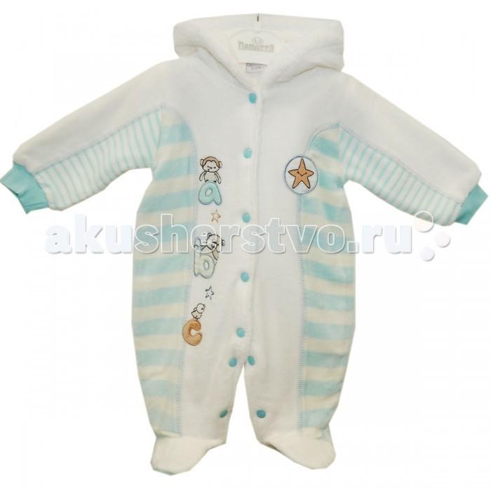 Папитто Комбинезон утепленный с капюшоном АВСКомбинезон утепленный с капюшоном АВСТёплый велюровый комбинезон для новорожденных деток позаботится о здоровье и комфорте малыша в прохладную погоду.   Внешняя часть комбинезона сделана из гладкого и плотного велюра с коротким ворсом. На ощупь он шелковистый, хорошо защищает от ветра и сохраняет тепло. Внутренняя часть - пушистая, с мягким длинным ворсом. Неплохо дышит, отлично греет.   Декорирован аппликацией и вышивкой. На ручках - плотные эластичные манжеты, которые не пропустят внутрь холодный воздух. Голову защищает капюшон. По обеим ножкам и на всю длину спереди проходят застежки-кнопки.   Утеплитель велсофт, который не линяет, не скатывается, хорошо впитывает влагу, быстро высыхает после стирки.   Подходит для использования всю осень, зиму и весну. При первом похолодании его можно носить поверх хлопковых вещей как верхнюю одежду, а в настоящие морозы - поддевать под зимние комбинезоны и курточки. В таком комбинезончике будет очень тепло, и чтобы ребенок не потел, необходима поддева из натурального хлопка.  Состав: Велюр - 80% хлопок, 20% полиэстер, подкладка - велсофт 100% полиэстер. Уход: Ручная, автоматическая стирка до 30 градусов, не отбеливать, без отжима.<br>