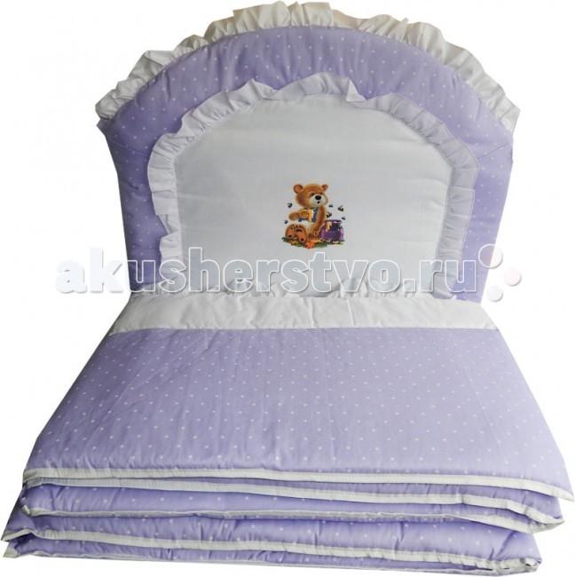 Бампер для кроватки Папитто раздельный комбинированный с аппликацией