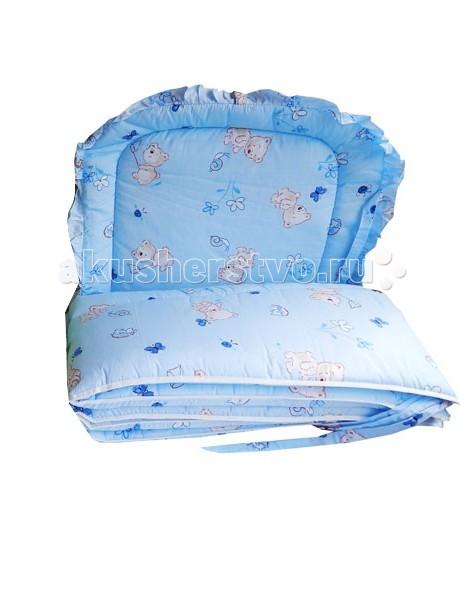 Бампер для кроватки Папитто раздельный низкийраздельный низкийБампер в кроватку защитит малыша, пока он маленький. И послужит отличным украшением детской кроватки.  Бортик из 4х частей высотой 33 см на весь периметр кроватки.  Состав: бязь набивная (хлопок 50%, пэ 50%).  Наполнитель: ПЭ  Внимание! Цвета в ассортименте!<br>