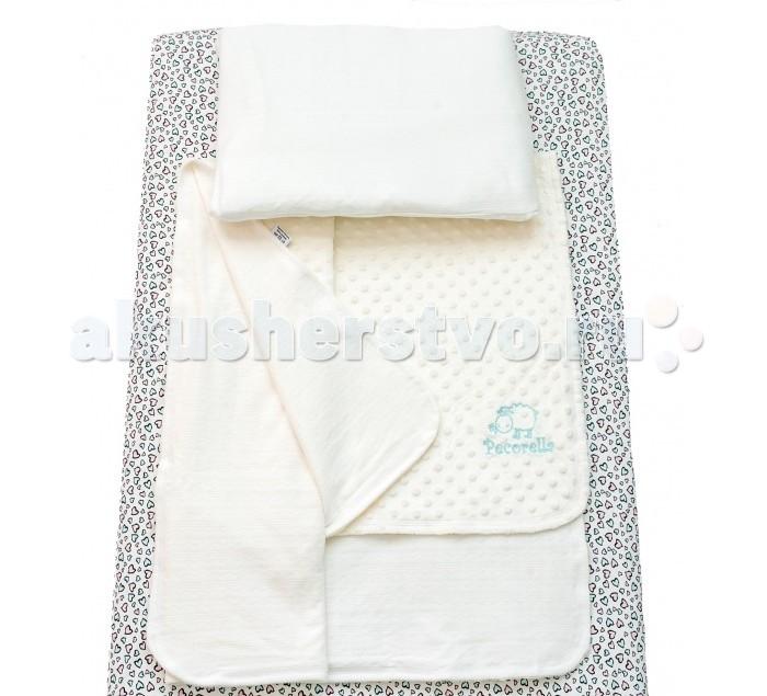 Постельное белье Pecorella Bright Hearts (3 предмета)Bright Hearts (3 предмета)Pecorella Комплект детское постельное белье  Комплект постельного белья из 100% хлопка Простыня на резинке, которая сохранит форму, нарядный вид, ощущение чистоты и порядка в кроватке Во время сна ребёнок не должен быть перегрет Мягкий плед - вот что нужно Вашему малышу во время сна. Он отлично пропускает воздух Получается и тепло, и кожа малыша не потеет Плед - одеяло на основе хлопкового велюра является брендовым и обладает не только носкостью, но и прекрасно выглядит Мягкий бархатистый ворс на одной стороне и нежный трикотаж на другой способствуют приятным тактильным ощущениям. В комплект входит также наволочка(50х30 см) из нежного трикотажа, которая подарит Вашему малышу ощущение уюта и тепла В наборе: Простыня на резинке (120х60 см), Мягкий плед (120х90 см), наволочка (50х30 см)<br>