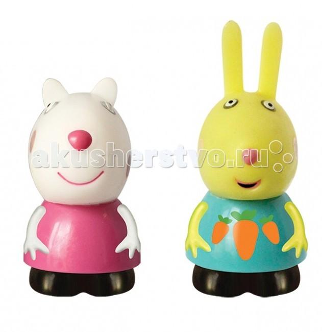 Peppa Pig Набор игрушек-брызгунчиковНабор игрушек-брызгунчиковОвечка Сьюзи (10 см) и кролик Ребекка (12 см) – это герои мультфильма Свинка Пеппа. С их резиновыми фигурками малыш может увлеченно играть и дома, и на улице, и даже в ванне.   Их яркая окраска улучшает цветовосприятие малютки, а приятная на ощупь поверхность развивает тактильные ощущения.   Игрушки выполнены из пластизоля.<br>