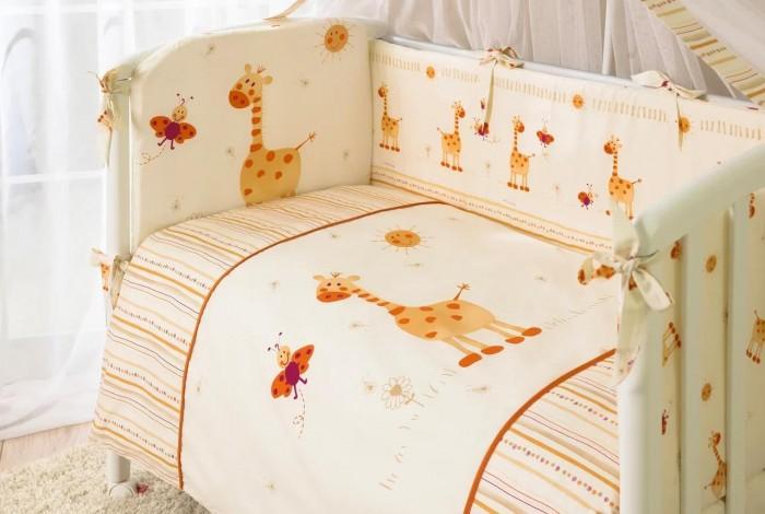 Комплект для кроватки Perina Кроха (7 предметов)Кроха (7 предметов)Эксклюзивный красочный дизайн комплекта Кроха позволит малышу окунуться в мир положительных эмоций.  Бампер на молнии состоит из 4-х частей, балдахин шириной 4,5 метра полностью укрывает кроватку, простынь на резинке идеально облегает матрас.  Ткань легко стирается и не линяет даже при высоких температурах. Разрешена ручная или деликатная машинная стирка (для бампера - до 30С).  В комплекте: Простыня на резинке 105х170 см Наволочка 40х60 см Подушка 40х60 см Пододеяльник на молнии 102х143 см Одеяло 100х140 см Бампер из 4-х частей со съемным чехлом 38х360 см Балдахин 165х450 см<br>