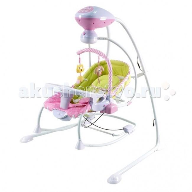 Качели электронные Pituso Alicante+ 4 в 1Alicante+ 4 в 1Детские электрокачели-люлька-шезлонг Pituso Alicante+ 4 в 1 TY-806 незаменимы для молодых родителей, ищущих способ отдохнуть от укачивания ребёнка хотя бы полчаса. Качели – самое любимое детское развлечение, а уж модель с музыкальным блоком, игрушками и несколькими уровнями скорости качания приведёт в восторг любого взрослого и найдёт подход даже к грудным малышам, ещё не способным оценить по достоинству классические качели.   компактен, занимает мало места в комнате, при необходимости можно сложить сиденье качелей можно использовать в качестве отдельной люльки или шезлонга качели оборудованы функцией вибрации предусмотрен поворотный механизм на 90 и 180 градусов предопределена функция автоматической регулировки скорости поворота качели имеют уникальную систему автоматического контроля веса ребенка предусмотрено 5 скоростей качания качели работают в трех режимах: 8, 15 и 30 минут есть музыкальный блок: воспроизводится 8 мелодий в комплекте - мягкие подвесные игрушки угол наклона спинки кресла меняется в 3 положениях сиденье оборудовано пятиточечными ремнями безопасности шезлонг можно использовать в качестве стульчика для кормления: есть небольшой столик дополнительный аксессуар - москитная сеточка чехол съемный качели работают от электро адаптера или от батареек  ХАРАКТЕРИСТИКИ: максимальная нагрузка: 12 кг размер (ВxШxД): 105x106x76 см вес в упаковке: 14,5 кг производство: Китай Для работы качелей необходимы 4 батарейки типа АА и 1 батарейка типа D (1,5V). В комплект не входят<br>