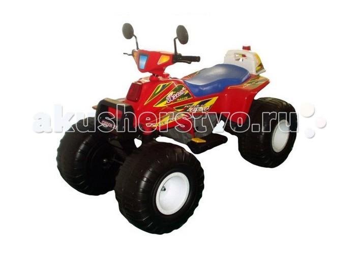 Электромобиль Пламенный мотор Квадроцикл Big Racer 95005/95006Квадроцикл Big Racer 95005/95006Пламенный мотор Квадроцикл Big Racer 95005/95006 предназначен для детей от 5 лет.   Количество пассажиров – до 2 человек (суммарная масса не более 50 кг).  Материал - пластмасса повышенной прочности и сталь.  Внешний вид – удобное сидение, имитация фар, боковые зеркала.  Автомобиль ездит вперед/назад (переключатель с правой стороны).  Повышенная/пониженная передача (переключатель с левой стороны).  Звуковая имитация (красная кнопка на левой стороне).  Включатель света фар (желтая кнопка на левой стороне).  Запуск и остановка. Для начала движения необходимо нажать на две ножные педали. Правая педаль - для контроля скорости движения, левая педаль (сцепление) - для начала движения и остановки.   Характеристики:  Тип аккумулятора: двухъячеечные, 6В/12Ач  Двигатель: двухрежимный двигатель постоянного тока с повышенным крутящим моментом Зарядное устройство: выход 12В/1А  Время заряда: 10 часов Время работы: 90–120 минут  Возраст детей: от 5 лет  Грузоподъемность: 50 кг.  Комплектация:  - Зеркала заднего вида  - Зарядное устройство  - Руль  - Колеса  - Другие детали для сборки  - Инструкция.<br>