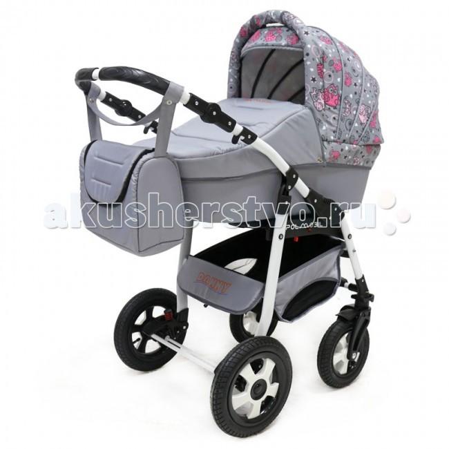 Коляска Polmobil Danny 2 в 1Danny 2 в 1Универсальная детская коляска Danny 2в1 от Польского производителя Polmobil предназначена для детей с рождения и до 3-х лет.  В комплект коляски входит спальная люлька для новорожденного и прогулочный блок для подросшего малыша, которые можно устанавливать по ходу движения или против хода движения. Люлька коляски комфортная и удобная, сделана внутри из 100 % хлопка. Дно люльки – жесткое, это очень важно для правильного формирования позвоночника новорожденного малыша. Прогулочное сидение легко устанавливается на раму, имеет пятиточечные ремни безопасности, съемный бампер, регулируемое положение спинки. Для удобства родителей предусмотрены регулировка высоты ручки, корзина для покупок и сумка для мамы.  Колеса надувные, камерные, с современной системой амортизации. Передние поворотные колеса с фиксатором делают эту модель коляски маневренной и легкоуправляемой. Задние колеса, обеспечивают хорошую проходимость и позволяют преодолевать любые препятствия по бездорожью на прогуле. Ширина колесной базы позволяет с легкостью входить в стандартные лифты и двери, что не вызовет трудностей с транспортировкой коляски.  Яркая расцветка коляски – порадует родителей и малыша.  Рама коляски цветная – это выглядит эффектно!   Люлька Danny:  • Непромокаемая тканевая люлька с жестким дном • Регулируемый по высоте подголовник • Удобная ручка для переноски, расположенная на капюшоне • Бесшумный механизм регулировки капюшона • Внутренняя вкладка выполнена из 100% хлопка, легко снимается для стирки • Матрасик для новорожденного • Возможность установки люльки в 2 положениях (лицом к маме, или лицом по направлению движения коляски) • Размеры внутренние люльки (ДхШхВ): 76х35х17 см.  • Вес: 4.73 кг.   Прогулочный блок Danny:  • Три положения регулировки спинки, в том числе до горизонтального • Регулируемая подножка • Регулируемый капюшон • Пятиточечные ремни безопасности с мягкими плечевыми накладками • Съемный бампер • Практичная накидка на ножки • Возм