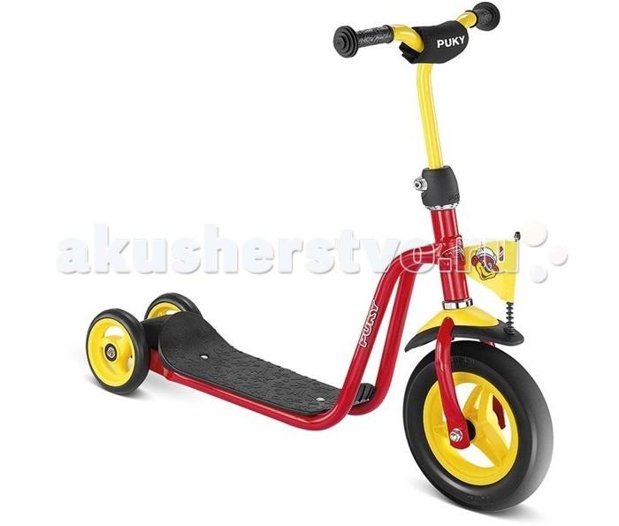 Самокат Puky R1R1Самокат Puky R1 - отличный транспорт для развития физической силы, баланса и координации ребенка от 2 до 5 лет! Puky R1 может быть первым самокатом в личном гараже ребенка. Он очень легкий - вес всего 3,3 кг. Руль самоката увеличивается.   Колеса самоката - литые из ПВХ, им не страшны проколы и порезы. Задние колеса разнесены на расстояние около 15 см - это делает самокат устойчивым и удобным для начинающего. Подножка самоката выполнена из ударопрочного пластика и покрыта антискользящим покрытием.  Материалы: металлический корпус сделан в соответствии с европейскими требованиями стандарта, качества и безопасности для детских товаров высокое качество окраски  Характеристики: предназначен для катания детей от 2 до 5 лет, на рост от 90 до 110 см максимальная устойчивость и безопасность супер легкий регулируемый по высоте руль 55 - 67 см 3 литых колеса для наибольшей устойчивости (переднее 205 мм, задние по 125 мм) безопасные ручки на руле противоскользящее покрытие на подножке AirBag на руле (противоударная подушечка) на переднем крыле оригинальный фирменный флажок длина площадки для ноги - 34 см максимальная нагрузка - 20 кг  Общие размеры самоката (дхвхш)  75х55-67х17 см Диаметр колес передних/задних  20/13 см Вес   3.3 кг<br>