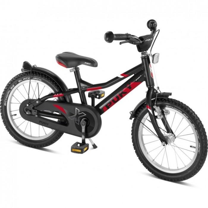 Велосипед двухколесный Puky ZLX 16 AluZLX 16 AluВелосипед двухколесный Puky ZLX 16 Alu – спортивный сверхлегкий алюминиевый велосипед с полным комплектом оборудования и очень легким ходом педалей для детей от 3 до 5 лет.  Двухколесные велосипеды Puky производятся только в Германии с 1949 года, чем обеспечивается их гарантированно высокое качество. Их дизайн и эргономика продуманы до мелочей, поэтому ребенку легче всего начать обучение на Puky.  Особенности: Puky ZLX – новая сверхмодная спортивная модель. Рама, вилка и педали двухколесного велосипеда Puky ZLX 16 Alu выполнены из алюминия, что делает велосипед сверхлегким. Причем, вес 8,8 кг указан вместе с крыльями, защитой цепи, педалями и светоотражателями.  Рама окрашена с помощью порошковой технологии, что гарантирует повышенную износоустойчивость. Такому покрытию не страшны яркий солнечный свет и падения на асфальт. Сварные швы на раме аккуратные и надежные, что обеспечивает устойчивость к нагрузкам во время катания.  Эргономичное мягкое седло в спортивном стиле оснащено ручкой для поддержки или удобной переноски велосипеда.  Колеса, рулевая вилка и педали велосипеда содержат высококачественные шарикоподшипники, что гарантирует отличную управляемость, легкий ход педалей и быстрое обучение. Мы не рекомендуем использовать приставные колеса, поскольку велосипеды Puky настолько легкие, что ребенок может научиться кататься за 1-2 прогулки без дополнительных колес. При желании приставные колеса Puky ST ZL 9625 можно приобрести отдельно.  У двухколесного велосипеда Puky ZLX 16 Alu колеса диаметром 16'' с премиальными пневматическими шинами Schwalbe® Black Jack. Колеса закрыты крыльями, оберегающими одежду ребенка от брызг с колес. В колесах легкие алюминиевые диски. Немецкие конструкторы особое внимание уделяют безопасности. В комплект Puky для безопасной езды на велосипеде входит защита цепи, пластиковая окантовка переднего крыла SKS, передний и задний светоотражатели, безопасные грипсы и окантовка руля, стильный мета