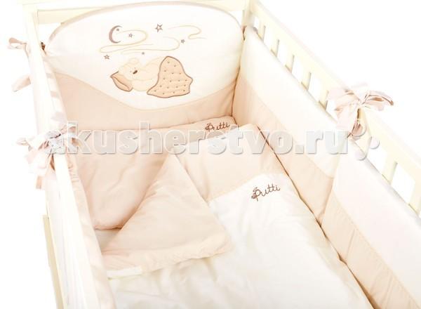 Комплект для кроватки Putti Starry night 120x60 (8 предметов)Starry night 120x60 (8 предметов)Комплект постельного белья Putti Starry Night 8 элементов выполнен в пастельных теплых тонах с оригинальной аппликацией.   Крепкий сон очень необходим для нормального развития младенцев. В постельном белье большое внимание уделяется мягкости ткани и качеству. Это белье легко стирается и гладится не теряя при этом формы . Идеально подходит для кроватки новорожденного размером 120х60см  В детский комплект входит: Подушка 60х40 см Наволочка 60х40см Одеяло 120х90 см Пододеяльник 120х90 см Защита по периметру кроватки 360 см (состоит из 6 отдельных частей) Простыня с резинкой Балдахин тюлевый на всю кроватку 5м. Карман для аксессуаров  Ткань 100 % хлопок Наполнитель 100 % полиэстер<br>