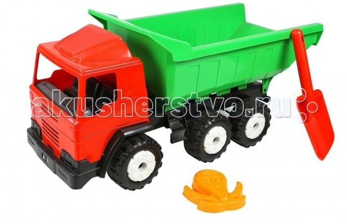 R-Toys Автомобиль Лидер BIGАвтомобиль Лидер BIGR-Toys Автомобиль Лидер BIG на 6 широких и проходимых колесах понравится юному автомобилисту - любителю больших и прочных машин.   Особенности: Такая игрушка будет незаменима в песочнице, с ней можно играть бесконечно, перевозить песок и многое другое.  Игра с такими большими самосвалами позволяет в полной мере имитировать реальные погрузочно-разгрузочные работы, дает возможность применить ребенку свою фантазию, помогает разыгрывать различные ситуации.  Это идеальная игрушка для игр на открытом воздухе и отлично подойдет для игры на даче, во дворе, на загородных участках, на площадках, в песочницах. Эти самосвалы отличаются высоким качеством, дизайном и функциональностью. Яркий и красивый дизайн понравится Вашему малышу!  Эта машина способна решать большие воспитательные задачи, развивает много хороших качеств: помощь друзьям и взрослым, ответственность, заботу, доброту и внимание.  Детская машина- самосвал Лидер BIG — это пластмассовая игрушка, изготовленная из высококачественного сырья.  В производстве этих машин используются безопасные материалы.  Пластик не деформируется и не выгорает под солнцем.  Рекомендуется для детей от 2 лет.  В комплекте: большая лопатка и формочка в виде осьминога для игр в песочнице.<br>