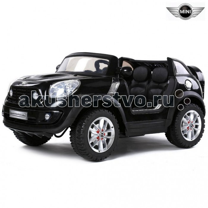 """Электромобиль R-Toys BMW MiniBMW MiniДетский двухместный электромобиль BMW MINI по лицензии известного автоконцерна выполнен по стилю легендарного MINI Cooper. Двухскоростной маленький джип с пультом радиоуправления для двоих детей.   Отличие этой модели от других – сиденье из перфорированной экокожи + вместительный стильный багажник в запаске. BMW MINI – одна из самых любимых моделей среди стильных автолюбителей. Все так реалистично выполнено: ветровое оргстекло, боковые зеркала, руль, диски, хромированная отделка, решетка радиатора, неоновая подсветка, реалистичная приборная панель в салоне- все повторяет настоящий автомобиль.   Большие размеры автомобиля и два посадочных места позволят Вашему ребенку приглашать в поездку своих друзей. Благодаря встроенному FM- радио с авто-настройкой, MP3, с любимой музыкой Вам не придется скучать в дороге и катание превратится в веселую вечеринку.  Ремни безопасности сделают это катание максимально безопасным.  Приводится в движение нажатием ногой на педаль – все как в настоящем авто. Едет вперед - назад, 2 скорости. Электромобилем можно управлять при помощи Bluetooth пульта дистанционного управления на расстоянии до 25 метров.  Лицензия сыграла роль в профессиональной покраске электромобиля - все как на взрослых реальных автомобилях. Очень красивая автомобильная покраска с металлическим блеском будет необыкновенно переливаться на солнце. Покраска кузова защищена слоем лака, что придает блестящий вид или эффект металлика. Это шикарное покрытие придает автомобилю по-настоящему дорогой и солидный вид. Лицензионная копия BMW MINI максимально приближена к своему оригиналу.  Оборудовано кнопкой """"Низкая скорость""""/""""Высокая скорость"""", которая используется для изменения скорости движения транспортного средства на 3 км/ч и 7 км ч.  Этот автомобиль оснащен разъемом для """"USB"""", а также слот для вставки """"SD"""" карту. Обе функции позволяют добавлять свою собственную музыку прямо в машине.  AUDI Q7 также имеет радиостанцию """"FM"""". Регулирование гро"""