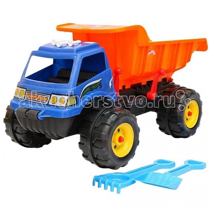 R-Toys Машина Гигант МaxМашина Гигант МaxR-Toys Автомобиль Гигант Мax на 4 широких и проходимых колесах понравится юному автомобилисту - любителю больших и прочных машин.   Особенности: Такая игрушка будет незаменима в песочнице, с ней можно играть бесконечно, перевозить песок и многое другое.  Игра с такими большими самосвалами позволяет в полной мере имитировать реальные погрузочно-разгрузочные работы, дает возможность применить ребенку свою фантазию, помогает разыгрывать различные ситуации.  Это идеальная игрушка для игр на открытом воздухе и отлично подойдет для игры на даче, во дворе, на загородных участках, на площадках, в песочницах. Эти самосвалы отличаются высоким качеством, дизайном и функциональностью. Яркий и красивый дизайн понравится Вашему малышу!  Эта машина способна решать большие воспитательные задачи, развивает много хороших качеств: помощь друзьям и взрослым, ответственность, заботу, доброту и внимание.  Детская машина — это пластмассовая игрушка, изготовленная из высококачественного сырья.  В производстве этих машин используются безопасные материалы.  Пластик не деформируется и не выгорает под солнцем.  Рекомендуется для детей от 3 лет.  В комплекте: лопатка и грабли для игр в песочнице.  Размер машинки 35х92х30 см.<br>