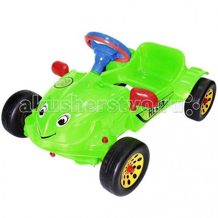 R-Toys Машина педальная Herbi с музыкальным рулемМашина педальная Herbi с музыкальным рулемУникальные машинки на педалях из нашего детства. Механизм педалей такой, как в детстве был у советских машинок. Получается этот автомобиль – раритет, который может себе позволить только Ваш малыш.   Автомобиль не имеет дна, но оснащен удобным сиденьем и двумя надежными педалями, которые запускают в движение колеса. Достаточно по очереди нажимать на педали и машина будет ехать вперед.   Поворачивая руль, автомобиль можно направлять направо или налево. Ребенок оценит этот простой, но очень необычный и надежный механизм управления. В отличии от аккумуляторных машин на пульте управления Ваш ребенок будет успешно развиваться физически, укреплять мышцы ног, спины, живота. Такой способ управления автомобилем не просто заинтересует Вашего малыша, но и приведет его в полнейший восторг.   Это первый автомобиль так похожий на реальный, потому что малыш сидит внутри и управляет им как водитель. Он может даже сигналить и слушать музыку, потому что руль - музыкальный. Красивые мелодии, красивые звуки. Эта необычная альтернатива детскому велосипеду.   Многие дети оценят новую систему управления, после которой им легко будет научиться кататься на велосипеде или на другом виде транспорта.   Корпус - упрочненный высококачественный пластик, не подвержен деформации и перепаду температур.  Дизайн и аэродинамические формы спортивного автомобиля как Formula 1 покорят Вашего малыша с первого взгляда. Выполнена по самым современным технологиям и соответствует всем высочайшим стандартам качества и безопасности.  Уникальность этой машины - очень легкий вес для своих размеров - всего 3 кг.  Автомобиль очень устойчивый – никогда не перевернется. Идеально подойдет для малышей от 3 лет.  Эргономичное сиденье с высокой спинкой.  Очень устойчивые, широкие и проходимые колеса легко справятся с любым покрытием дорог.  У автомобиля имеются боковые зеркала заднего вида.  Эту педальную машину можно использовать и 