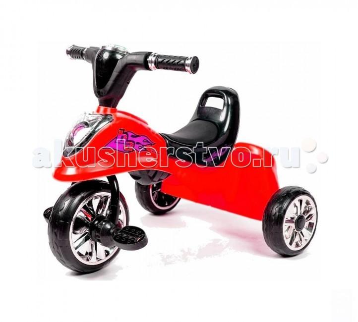 Велосипед трехколесный R-Toys ModernModernОчень легкий трехколесный велосипед без родительской ручки Modern.   Привлекательность этого велосипеда - светящийся музыкальный руль. Круглая вертушка на руле меняет цвет - 7 разных цветов. Это очень понравится Вашему малышу.   Вы по достоинству оцените ручку сзади сиденья. Она поможет Вам подталкивать ребенка во время езды. Также она будет служить малышу небольшой спинкой, чтобы можно было облокотиться на нее.   Сиденье сделано из мягкой кожи. Эргономика сиденья - 10 баллов.   У этого велосипеда есть ценная вещь - багажник. Он очень вместительный. Его ширина 30 см.  Колеса EVA обеспечат тихую и ровную езду, хорошее сцепление с дорогой, а педальками с противоскользящим рисунком легко сможет управлять самый маленький ребенок от 1.5 лет.    Для руля необходимы батарейки 2AA ( в комплект не входят)  Размер велосипеда 60х50х46 см<br>