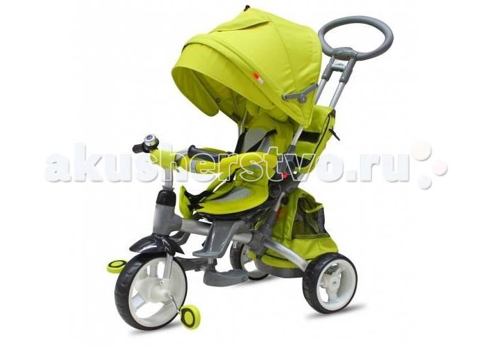 """Велосипед трехколесный R-Toys Modi 2016 AluminiumModi 2016 AluminiumВелосипед трехколесный R-Toys Modi 2016 Aluminium на мягких и бесшумных колесах EVA. Идеально подходит для детей от 10-12 месяцев и растет вместе с ребенком до 5 лет.  Особенности: Уникальная Родительская ручка- телескопик — регулируется по высоте путем нажатия на кнопку, а рукоятка ручки меняет наклон в нескольких вариантах. Это очень удобно для регулирования высоты Родительской ручки. Удобная Родительская ручка установлена под идеальным углом и подходит под любой рост взрослого- Вы оцените эргономику. Созданная по инновационным технологиям ручка очень прочная. У модели MODI 2016 Aluminium - очень мягкие каучуковые колеса, которые невозможно проколоть и их не нужно постоянно накачивать.  Сиденье 360 - сиденье можно повернуть лицом к маме или лицом к дороге, наклонить до положения полулежа. Причем сделать это можно, нажав на кнопочку сиденья- не прикладывая никаких усилий.  Эргономика сиденья- 10 баллов. А наклонить сиденье до уровня лежа-полулежа можно легко и просто. Также нажав на кнопочки сбоку.  Большое сиденье можно быстро превратить в маленькое для повзрослевшего ребенка. Верхняя часть сиденья легко снимается и остается маленькое нижнее сиденье.  Складной капюшон защитит от дождя и солнца.  Съемный барьер безопасности очень тверд и надежен. Легко и быстро снимается при необходимости.  3-х точечные ремни безопасности защитят от выпадения и остановят непоседу. На задних колесах установлен ножной тормоз, которым можно воспользоваться при остановке. Это очень удобно. Функция - """"свободное колесо"""". Пластиковый диск расположен на переднем колесе. Небольшим усилием Вы можете вытаскивать диск наружу или ставить на место. Таким образом, Вы фиксируете педали и малыш может кататься на велосипеде, а можно дать им свободный ход и крутить педали взад- вперед, когда велосипедом управляет взрослый.  Уникальные подножки-лепестки, которые крепятся к нижней части сиденья и очень эргономично расположены по отноше"""