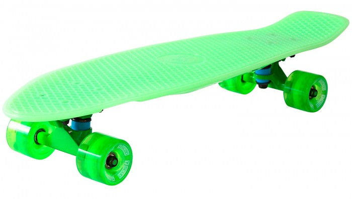 R-Toys Скейтборд Big Fishskateboard Glow 27Скейтборд Big Fishskateboard Glow 27Y-Scoo Скейтборд Big Fishskateboard Glow 27 с сумкой - уникальное средство передвижения по городу и отличный способ заявить о себе в скейтпарке.  Особенности: Сочетает в себе компактность, комфорт, отличную управляемость и является отличным способом времяпровождения для людей всех возрастов. Дека сделана из высокопрочного, гибкого винилового пластика и имеет рисунок в виде сот на рифленой поверхности. Это обеспечивает повышенную устойчивость и безопасность во время катания на скейтборде, такой рисунок не даст ногам райдера соскальзывать во время катания.  Такая доска универсальна и подойдет для любого стиля катания.  Тип - скейтборд с конкейвом. Конкейв (concave)- загнутость доски по всей её длине по бокам, а также угол подъёма носа и хвоста. Чем глубже конкейв, тем лучше чувствуется доска во время трюков, легче закручивается и легче приземляться. Чем короче хвост (или нос) и чем больше у него угол подъёма, тем выше получается ollie, чем длиннее, тем легче делать nose и tailslide.  Длина деки: 79 см, ширина: 22 см. Высокопрочная подвеска из алюминиевого сплава покрыта высокотехнологичной краской - 15 см.  Амортизаторы жесткостью 82А. Подшипник  ABEC 7 Chrome. Никелированные болты. Колёса полиуретановые: PU - Super High Rebound колеса 65х47 мм, жесткость 82А. Очень важно в колесах: чем больше жесткость, тем больше скорость.  Монтажные болты, покрытые специальной краской, гайки с супермягкими прокладками 90А.  Небольшой вес скейтборда делают его маневренным и легким в транспортировке. Максимальная нагрузка 150 кг<br>