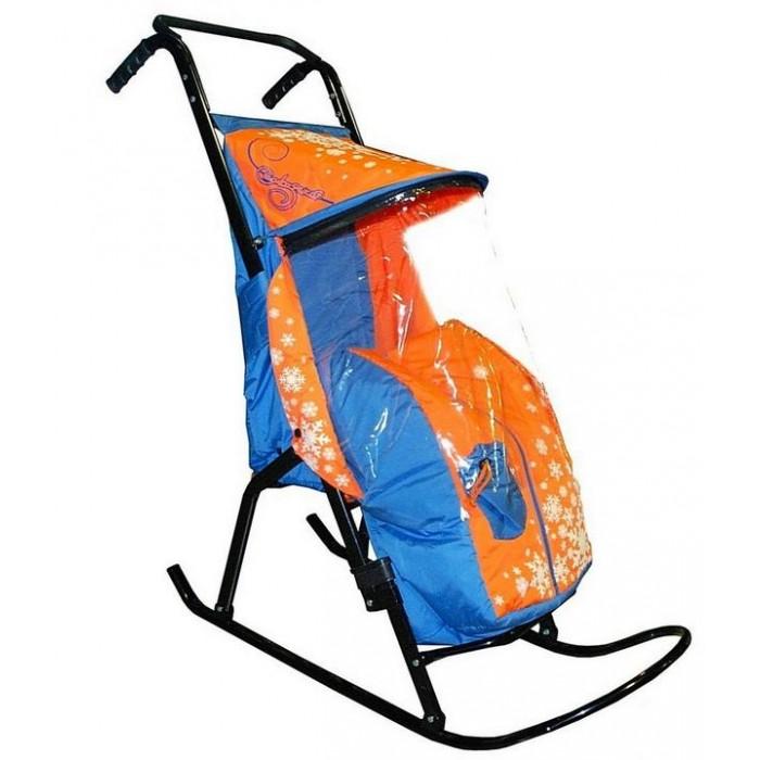 Санки-коляска R-Toys Снегурочка 2-Р1 Снежинки