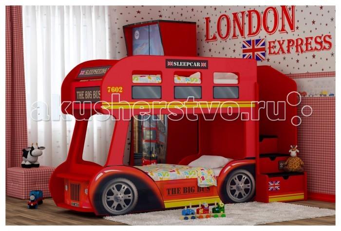 Детская кроватка Red-River двухъярусная Автобусдвухъярусная АвтобусЕсли у вас двое детей, то двухъярусная кровать может стать отличным решением для обустройства их детской комнаты. Особенно, если эта кровать будет обладать ярким дизайном, который привлечет детское внимание. А если эта кровать сама будет представлять собой автобус, да еще и с героями любимого мультфильма, то любой малыш уж точно придет в восторг.  Он сможет стать или отважным водителем, едущим по африканскому бездорожью, или же туристом, рассматривающим прекрасные виды с верхнего этажа – обе этих роли одинаково увлекательны. Именно поэтому этот автобус не только станет удобной кроватью, но и превосходной игровой площадкой, почти всегда находящейся в центре внимания.  яркий и стильный дизайн устойчивая и прочная конструкция безопасные для детского здоровья и экологически чистые материалы изображение с разрешением 1440 dpi подходит под матрасы размером 160х70 или 170х70 см (по желанию) лестница с 4-мя выдвижными ящичками  лестница устанавливается слева или справа (по желанию) ортопедическое основание влагостойкое ламинированное покрытие  Размер кровати 225х145х94 см Высота борта второго яруса - 25 см от матраса Рекомендованная высота матраса 8 см<br>