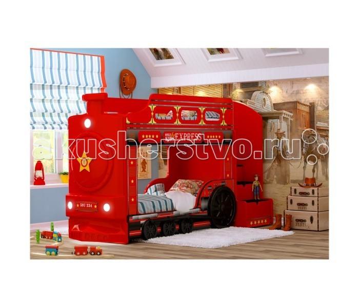 Детская кроватка Red-River двухъярусная Паровоздвухъярусная ПаровозЕсли у вас двое детей, то двухъярусная кровать может стать отличным решением для обустройства их детской комнаты. Особенно, если эта кровать будет обладать ярким дизайном, который привлечет детское внимание. А если эта кровать сама будет представлять собой паровоз, то любой малыш уж точно придет в восторг.  яркий и стильный дизайн, реалистичные рисунки устойчивая и прочная конструкция безопасные для детского здоровья и экологически чистые материалы светодиодные фары входит USB проигрыватель изображение с разрешением 1440 dpi подходит под матрасы размером 160х70 или 170х70 см (по желанию) лестница с 4-мя выдвижными ящичками  лестница устанавливается слева или справа (по желанию) ортопедическое основание влагостойкое ламинированное покрытие  Размер кровати 225х145х94 см Высота борта второго яруса - 25 см от матраса Рекомендованная высота матраса 8 см<br>