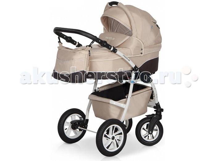Коляска Riko Modus 2 в 1Modus 2 в 1Коляска Riko Modus 2 в 1 - универсальная детская коляска MODUS 2 в 1 от Польского производителя Riko предназначена для детей с рождения и до 3-х лет.   В комплект коляски входит спальная люлька для новорожденного и прогулочный блок для подросшего малыша, которые можно устанавливать по ходу движения или против хода движения. Люлька коляски  комфортная и удобная, сделана внутри из 100 % хлопка. Дно люльки – жесткое, это очень важно для правильного формирования позвоночника новорожденного малыша.   Прогулочное сидение легко устанавливается на раму, имеет пятиточечные ремни безопасности, съемный бампер, регулируемое положение спинки. Для удобства родителей предусмотрены регулировка высоты ручки, корзина для покупок и сумка для мамы.   Колеса надувные, камерные, с современной системой амортизации. Передние поворотные колеса с фиксатором делают эту модель коляски маневренной и легкоуправляемой. Задние колеса, обеспечивают хорошую проходимость и позволяют преодолевать любые препятствия по бездорожью на прогуле.   Характеристики:  Непромокаемая тканевая люлька с жестким дном  Регулируемый по высоте подголовник  Вентилируемое смотровое окошко в капюшоне  Удобная ручка для переноски, расположенная  на капюшоне  Регулируемый капюшон  Внутренняя вкладка выполнена из 100% хлопка, легко снимается для стирки  Матрац  для новорожденного  Возможность установки люльки в 2 положениях (лицом к маме, или лицом по направлению движения коляски).   Размеры внутренние люльки:  длина 76 см  ширина 37 см  высота 20 см  вес: 4.73 кг  Прогулочный блок: 3 положения регулировки спинки, в том числе до горизонтального;  Возможность установки прогулочного блока в 2 положениях (лицом к маме, или лицом по направлению движения коляски).   Размеры прогулочного блока:  ширина 36 см  длина  84 см  вес: 4.3 кг  Рама и колеса: Удобный и простой механизм складывания коляски  Легкий и простой механизм снятия и установки съемных модулей (люльки или прогулочного блока)  Регули