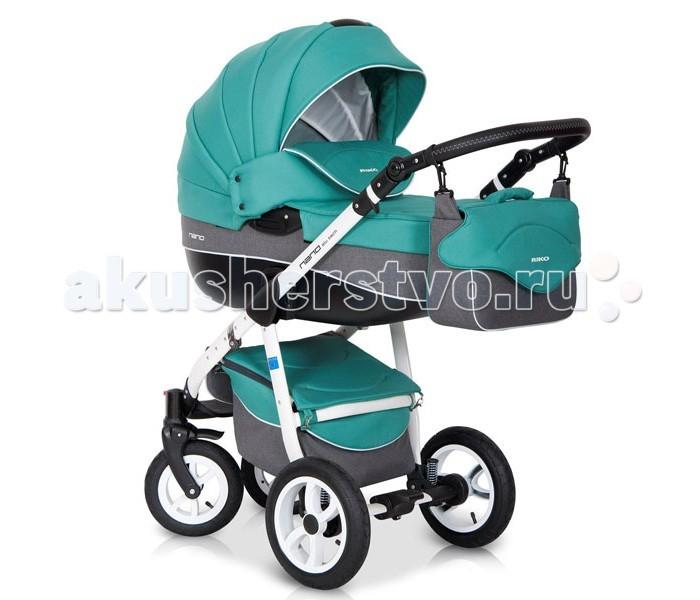 Коляска Riko Nano 2 в 1Nano 2 в 1Элегантная коляска с неповторимым дизайном для детей от рождения до 3-х лет. Многофункциональная транспортная система Riko Nano 2 в 1, обеспечивающая комфорт и безопасность на прогулках с Вашим ребенком. Детская универсальная коляска изготовлена с использованием высококачественных легких дышащих текстильных материалов, имеет небольшой вес и отличную маневренность на дороге.  Люлька Riko: Просторная пластиковая люлька Обивка и матрасик выполнены из 100% хлопка Верхняя часть из водонепраницаемой ткани Регулируемый подголовник Жесткое дно Можно использовать как люльку-качалку в домашних условиях На капюшоне ручка для переноски Утепленный капюшон с вентиляционным окошком Возможность установки в 2 положениях (лицом к маме , либо лицом по направлению движения) Размеры внутренние: длина 80 см, ширина 37 см, высота 22 см. Вес 5.2 кг  Прогулочный блок Riko: Четыре положения регулировки спинки , вплоть до лежачего Регулируемая подножка Пятиточечные ремни безопасности с мягкими плечевыми накладками Съемный бампер Утепленный чехол на ножки Возможность установки в 2 положениях (лицом к маме , либо лицом по направлению движения) Размеры сиденья: ширина 32 см, глубина 25 см, высота спинки 41 см, длина подножки 18 см. Вес 5.2 кг.  Шасси Riko: Алюминиевая рама Простой механизм складывания и раскладывания коляски Система складывания - книжка Ручка обтянута эко-кожей с возможностью регулировки по высоте Амортизаторы с регулировкой жесткости Колеса надувные на подшипниках Передние колеса - поворотные, с возможностью блокировки для движения по прямой Центральный тормоз Большая закрытая корзина для покупок Регулировки ручки (от земли) : 77 см - 121 см  Комплектация: Люлька для новорожденного Прогулочный блок Накидка на ножки Чехол от дождя Москитная сетка Сумка для мамы  Размеры: Разложенная рама с колесами: длина 101 см, ширина 59 cм, высота 112 см Сложенная рама с колесами: длина 80 см, ширина 59 см, высота 39 см Диаметр колес: передние 24 см, задние 29