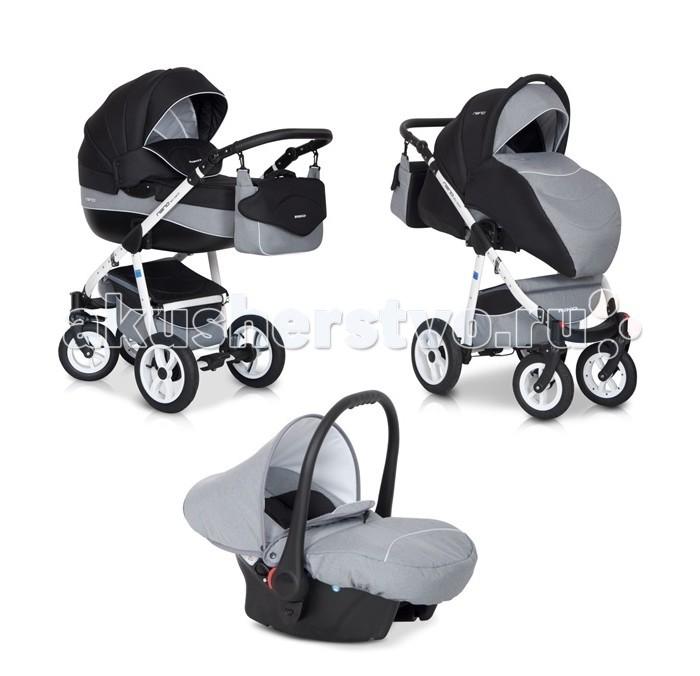 Коляска Riko Nano 3 в 1Nano 3 в 1Элегантная коляска с неповторимым дизайном для детей от рождения до 3-х лет. Многофункциональная транспортная система Riko Nano 3 в 1, обеспечивающая комфорт и безопасность на прогулках с Вашим ребенком. Детская универсальная коляска изготовлена с использованием высококачественных легких дышащих текстильных материалов, имеет небольшой вес и отличную маневренность на дороге.  Люлька Riko: Просторная пластиковая люлька Обивка и матрасик выполнены из 100% хлопка Верхняя часть из водонепраницаемой ткани Регулируемый подголовник Жесткое дно Можно использовать как люльку-качалку в домашних условиях На капюшоне ручка для переноски Утепленный капюшон с вентиляционным окошком Возможность установки в 2 положениях (лицом к маме , либо лицом по направлению движения) Размеры внутренние: длина 80 см, ширина 37 см, высота 22 см. Вес 5.2 кг  Прогулочный блок Riko: Четыре положения регулировки спинки , вплоть до лежачего Регулируемая подножка Пятиточечные ремни безопасности с мягкими плечевыми накладками Съемный бампер Утепленный чехол на ножки Возможность установки в 2 положениях (лицом к маме , либо лицом по направлению движения) Размеры сиденья: ширина 32 см, глубина 25 см, высота спинки 41 см, длина подножки 18 см. Вес 5.2 кг.  Детское автомобильное кресло Riko: Вес ребенка От 0 до 13 кг (группа 0+) Соответствует европейскому стандарту безопасности ЕСЕ R44/04 Устанавливается в автомобиле при помощи штатных ремней безопасности Положение в автомобиле: спиной вперед (делается для того, чтобы при резком торможении автомобиля ребенок не повредил еще не окрепшую шейку) Трехточечные ремни безопасности с мягкими плечевыми накладками Удобная форма автокресла позволяет совершать длительные поездки Оборудовано специальными ножками для укачивания, что позволяет использовать автокресло как качалку Обивка снимается и стирается при температуре 30 градусов в режиме деликатной стирки Размеры ГхШхВ 65х56х58 см Вес: 3 кг  Шасси Riko: Алюминиевая рама Простой механи