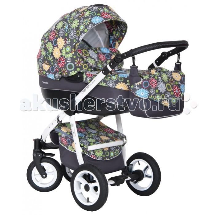 Коляска Riko Nano Flower collection 2 в 1Nano Flower collection 2 в 1Элегантная коляска с неповторимым дизайном для детей от рождения до 3-х лет. Многофункциональная транспортная система Riko Nano 2 в 1, обеспечивающая комфорт и безопасность на прогулках с Вашим ребенком. Детская универсальная коляска изготовлена с использованием высококачественных легких дышащих текстильных материалов, имеет небольшой вес и отличную маневренность на дороге.  Люлька Riko: Просторная пластиковая люлька Обивка и матрасик выполнены из 100% хлопка Верхняя часть из водонепраницаемой ткани Регулируемый подголовник Жесткое дно Можно использовать как люльку-качалку в домашних условиях На капюшоне ручка для переноски Утепленный капюшон с вентиляционным окошком Возможность установки в 2 положениях (лицом к маме , либо лицом по направлению движения) Размеры внутренние: длина 80 см, ширина 37 см, высота 22 см. Вес 5.2 кг  Прогулочный блок Riko: Четыре положения регулировки спинки , вплоть до лежачего Регулируемая подножка Пятиточечные ремни безопасности с мягкими плечевыми накладками Съемный бампер Утепленный чехол на ножки Возможность установки в 2 положениях (лицом к маме , либо лицом по направлению движения) Размеры сиденья: ширина 32 см, глубина 25 см, высота спинки 41 см, длина подножки 18 см. Вес 5.2 кг.  Шасси Riko: Алюминиевая рама Простой механизм складывания и раскладывания коляски Система складывания - книжка Ручка обтянута эко-кожей с возможностью регулировки по высоте Амортизаторы с регулировкой жесткости Колеса надувные на подшипниках Передние колеса - поворотные, с возможностью блокировки для движения по прямой Центральный тормоз Большая закрытая корзина для покупок Регулировки ручки (от земли) : 77 см - 121 см  Комплектация: Люлька для новорожденного Прогулочный блок Накидка на ножки Чехол от дождя Москитная сетка Сумка для мамы  Размеры: Разложенная рама с колесами: длина 101 см, ширина 59 cм, высота 112 см Сложенная рама с колесами: длина 80 см, ширина 59 см, высота 39 см Диам